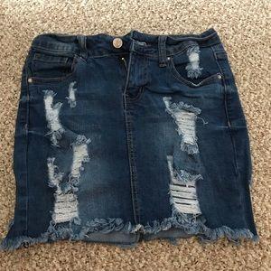 Dresses & Skirts - Ripped Jean Skirt